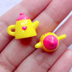 3D Tea Kettle Charms | Miniature Teapot | Kawaii Afternoon Tea Cabochons | Novelty Jewellery DIY (2pcs / Pink & Yellow / 19mm x 15mm)