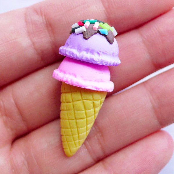 Fimo Ice Cream Cabochons with 2 Scoops | 3D Icecream with Sprinkles Cabochon | Kawaii Decoden Pieces | Mini Sweets Jewellery Making (1 piece / Lavender or Taro & Strawberry / 15mm x 37mm)