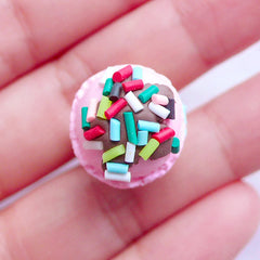 3D Ice Cream Cabochons with Sprinkles Topping | Polymer Clay Icecream with Two Scoops | Kawaii Sweets Deco | Decoden Phone Case (1 piece / Blue Moon & Strawberry / 15mm x 37mm)
