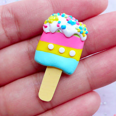 B GRADE Rainbow Ice Pop Cabochons | Fimo Popsicle with Sprinkles Toppings | Decoden Sweets Supplies | Kawaii Phone Case Deco (1 piece / Green, Pink, Yellow & Blue / 18mm x 32mm)