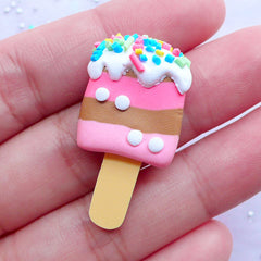 B GRADE Striped Popsicle Cabochons | Polymer Clay Ice Pop with Toppings | Kawaii Sweets Supplies | Fimo Food Jewelry (1 piece / Chocolate & Strawberry / 18mm x 32mm)