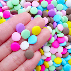 Polymer Clay Chocolate Candy Cabochons | Fake Fimo Candy Toppings | Sweets Deco Suppies | Faux Food Crafts | Kawaii Decoden Supplies | Phone Case Decoration (5 pcs / 10mm / Colorful Mix / Thick Type)