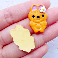 Decoden Cabochon Supplies | Rabbit Cookie Cabochons | Animal Biscuit Cabochons | Kawaii Sweets Deco | Faux Food Crafts | Cell Phone Deco | Resin Pieces (2 pcs / 16mm x 25mm /  Flat Back)