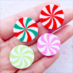 Peppermint Candy Cabochons | Polymer Clay Sweets Deco Cabochon | Kawaii Fimo Food Jewelry | Christmas Cell Phone Decoration | Cute Decoden Supplies (4 pcs / 21mm x 4mm / Flat Back / Double Sided)