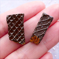 Bitten Chocolate Wafer Cabochons | Miniature Waffle Cookie Cabochon | Sweets Deco Cabochon | Fake Food Embellishment | Kawaii Phone Case | Resin Decoden Pieces (2 pcs / Dark Brown / 12mm x 21mm / Double Sided)