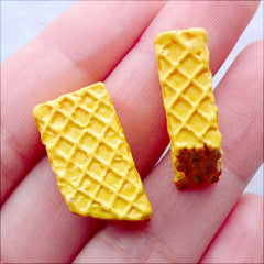 Miniature Wafer Cabochon | Bitten Waffle Biscuit Cabochons | Fake Food Cabochon | Decoden Embellishment | Sweets Phone Case Deco | Kawaii Supplies (2 pcs / 12mm x 22mm / Double Sided)