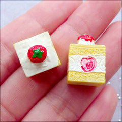 Strawberry Sponge Cake Cabochons in Cube Shape | Miniature Sweets Cabochon in 3D | Dollhouse Food Crafts | Mini Dessert Jewellery Making | Sweet Decoden Supplies | Kawaii Resin Pieces (2 pcs / White / 12mm x 18mm / Flat Back)
