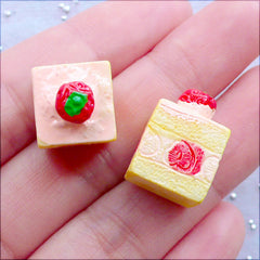 Fake Dessert Cabochon | Miniature Cake Cabochons | 3D Strawberry Sponge Cake in Cube Shape | Dollhouse Sweets Supplies | Kawaii Sweet Deco | Decoden Pieces | Mini Food Jewelry (2 pcs / Pink / 12mm x 18mm / Flat Back)