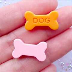 Dog Bone Biscuit Cabochons | Pet Food Cabochon | Animal Cookie Cabochon | Decoden Resin Cabochon | Kawaii Cell Phone Deco | Cute Embellishments | Scrapbooking (4 pcs / 11mm x 19mm / Flat Back)