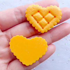 Heart Biscuit Cabochons | Big Cookie Cabochon | Fake Food Cabochon | Sweet Deco Cabochon | Kawaii Phone Case Decoden | Kitsch Resin Cabochon | Faux Sweets Jewellery Making (2pcs / 34mm x 26mm / Flat Back)