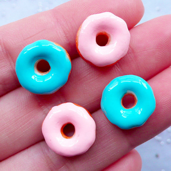 Dollhouse Miniature Donut Cabochons | Kawaii Doughnut Cabochon | Decoden Pieces | Sweet Deco | Doll Food | Fake Food Jewelry Supplies (4 pcs / Pink & Blue / 13mm / Flatback)