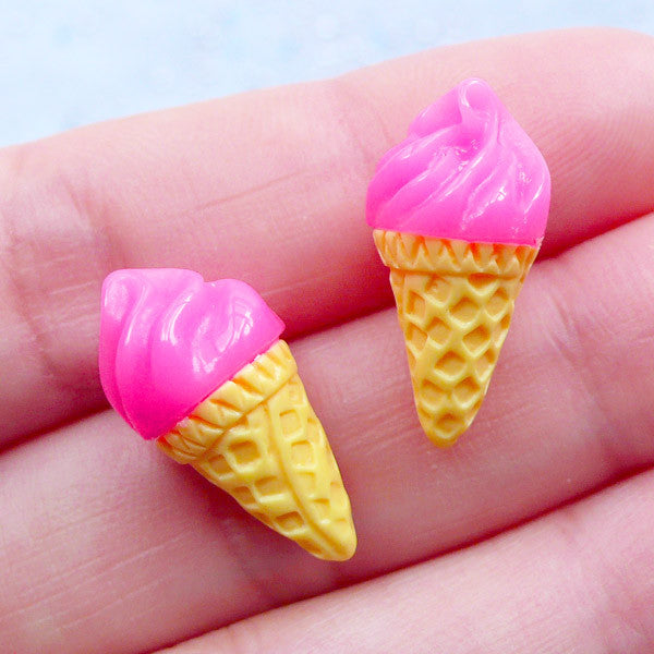 Kawaii Ice Cream Cabochons | Doll House Food | Fake Sweet Jewellery Making | Kawaii Craft Supplies | Decoden Embellishments (2 pcs / Dark Pink Strawberry / 10mm x 20mm)