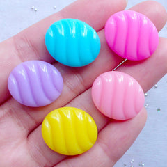 Oval Candy Cabochons | Japanese Sweets Deco | Kawaii Food Jewellery Supplies | Pastel Kei Decoden Pieces (5pcs / Assorted Mix / 17mm x 20mm / Flatback)