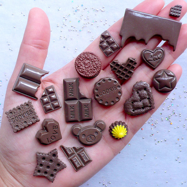 Chocolate & Biscuit Cabochon Assortment | Kawaii Decoden Cabochons | Sweets Deco | Phone Case Decoration | Miniature Sweet Crafts (18pcs / Assorted Mix / Flat Back)
