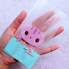 Little Gift Bags with Kawaii Cat Drawing | Plastic Packaging Bags | Cute Animal Cello Bags | Party Supplies | Baby Shower Favor Bags (20pcs / 7cm x 15cm)