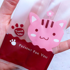 Kawaii Animal Gift Bags | Small Cello Bag with Cute Kitty Drawing | Baby Shower Party Supplies | Candy Favor Bags | Plastic Packaging Bag Supplies (20pcs / 7cm x 15cm)