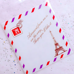 Paris Eiffel Tower Postcard Gift Bags | Self Adhesive Plastic Bags | Cookie Cello Bags | Packaging Supplies (10cm x 11cm / 20pcs)