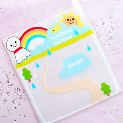 Kawaii Gift Bags | Happy Weather Plastic Gift Bags | Self Adhesive Cello Bags | Treat Bags Supplies (10cm x 11cm / 20pcs)