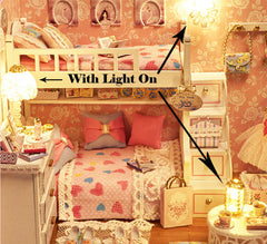 Dollhouse Kit with Furniture in 1:24 Scale | Miniature Bedroom with LED light | DIY Craft Kit