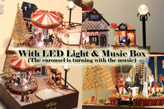 Dollhouse Carousel Kit with Music Box and LED Light | Miniature Amusement Park | Family Crafting Ideas | Handmade Gift