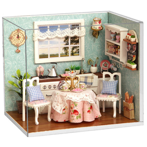 Dollhouse Miniature Kitchen Kit With Furniture Led Light In 1 24
