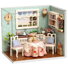 Dollhouse Miniature Kitchen Kit with Furniture & LED Light in 1:24 Scale | Family Craft Ideas | Handmade Present