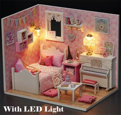 Miniature Kit with Furniture in 1:24 Scale | Dollhouse Bedroom with LED light | Kawaii Crafts