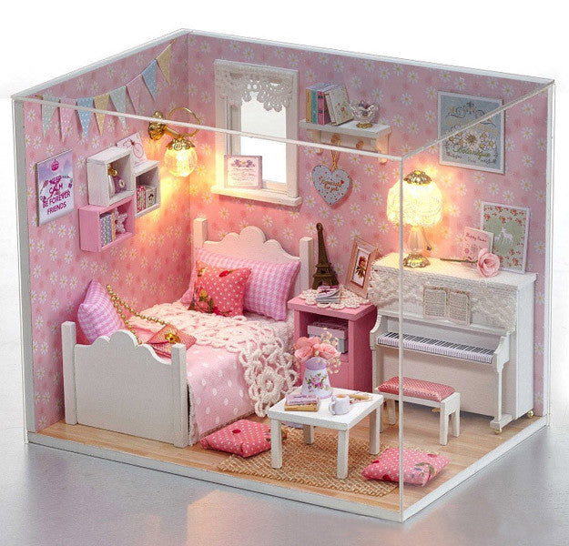 Miniature Kit With Furniture In 1:24 Scale | Dollhouse Bedroom With LED  Light |