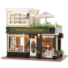 Dollhouse Paris Coffee & Cake Shop with Music Box and LED Light | Miniature Cafe Kit with Furniture in 1:24 Scale | Doll House Craft