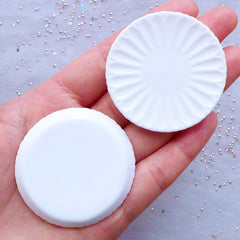 Round Miniature Plate Cabochons | White Dollhouse Dishes | Doll House Tableware | Mini Food Crafts | Kawaii Craft Supplies (2 pcs / White / 46mm)