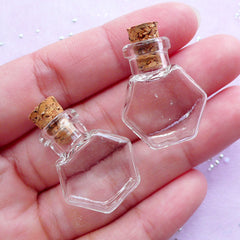 Miniature Hexagon Bottle | Dollhouse Glass Jar | Glass Vial Pendant DIY | Terrarium Supplies (21mm x 24mm / 2 pcs)