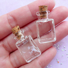 Dollhouse Glass Bottle in Rectangular Shape | Miniature Terrarium Glass Jar (14mm x 25mm / 2 pcs)