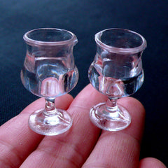 Dollhouse Madeira Wine Glass | Miniature Plastic Glassware | Doll House Craft | Miniature Drink Making | Kawaii Charm DIY (2pcs / 17mm x 28mm / Clear)
