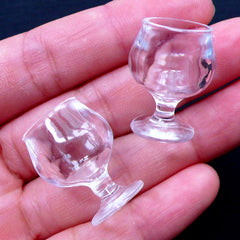 Dollhouse Wine Glasses | Miniature Brandy Snifter | Doll House Cognac Glass | Mini Tableware | Tiny Plastic Cup | Doll Drink | Doll Drinking Glass (2pcs / 18mm x 24mm / Clear)