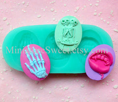Silicone Mold Flexible Mold (Skeleton Skull Vampire Cameo 3pcs) Fondant Gumpaste Cupcake Topper Miniature Sweets Jewelry Scrapbooking MD021