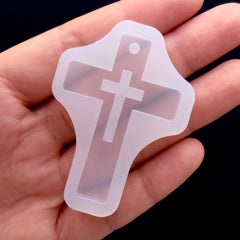 Hollow Latin Cross Mold | Christian Jewelry Making | Cross Pendant Mold | Resin Jewellery Mold | Halloween Decoden Supplies (34mm x 49mm)
