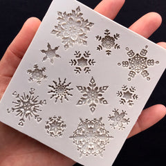 Assorted Snowflake Mold (13 Cavity) | Christmas Silicone Mold | Winter Embellishment Mold | Food Safe Mould | Epoxy Resin Craft