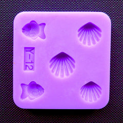 Marine Life Silicone Mold (5 Cavity) | Fish and Sea Shell Flexible Mould | Resin Crafts & Clay Jewelry Making