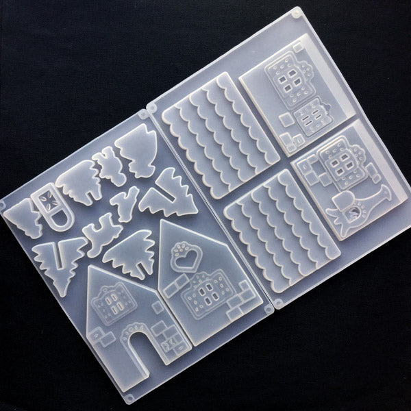 Gingerbread House Silicone Mold | Christmas Decoration | Epoxy Resin Craft Supplies | Clear Soft Mold for UV Resin