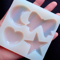 Moon Ribbon Heart & Star Flexible Mould (4 Cavity) | Kawaii Silicone Mold | Resin Jewellery Making | Decoden Resin Molds