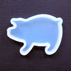 Kawaii Farm Animal Flexible Silicone Mold | Pig Cabochon Making | Resin Craft Supplies (41mm x 28mm)