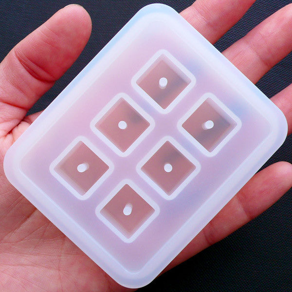 12mm Square Cube Bead Silicone Mould (6 Cavity) | Chunky Beads Making | Flexible Jewellery Mold | Epoxy Resin Molds | Kawaii Craft Supplies
