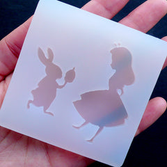 Alice in Wonderland Silicone Mold (2 Cavity) | White Rabbit Mold | Kawaii Cabochon Making | Fairy Tale Decoden | Flexible Resin Mold