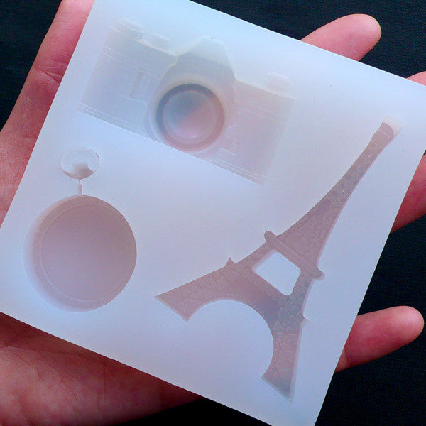 Camera Mold | Pocket Watch Mold | Eiffel Tower Mold | Paris Decoden | Epoxy Resin Silicone Mold | Kawaii Resin Crafts (3 Cavity)