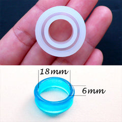 UV Resin Ring Mold with Flat Surface | Epoxy Resin Jewellery Mold | Clear Soft Mold | Flexible Silicone Mould | Make Your Own Rings (Size 18mm)