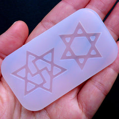 Raelism Symbol Mold & Star of David Silicone Mold (2 Cavity) | UFO Religion | Sacred Geometry Jewelry Making | Clear UV Resin Soft Mould | Flexible Epoxy Resin Mold