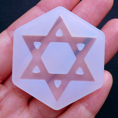 Star of David Mold | Flexible Geometry Mold | Sacred Jewelry Making | Soft UV Resin Clear Mold | Epoxy Resin Silicone Mould (35mm x 40mm)
