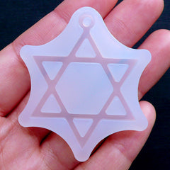 Hexagram Charm Mold | Star of David Flexible Mold | Geometry Silicone Mold | Sacred Jewellery Mold | UV Resin Mould | Epoxy Resin Mold (35mm x 45mm)