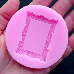 Victorian Rectangular Frame Mold | Epoxy Resin Silicone Mold | Kawaii Jewelry Making | Dollhouse Miniature Frame DIY | Memory Jewellery (33mm x 46mm)