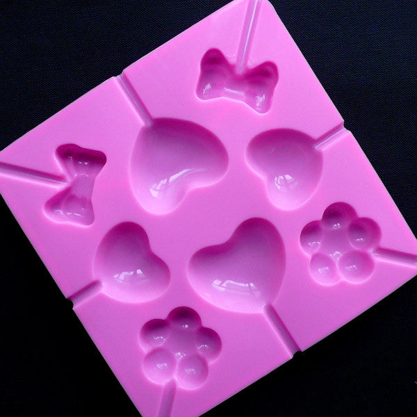 Lollipop Mold (8 Cavity) | Heart Magic Wand Mold | Lolly Pop Candy Mold in Flower & Bow Shapes | Food Safe Mold | Flexible Silicone Mold For Kawaii Resin Craft